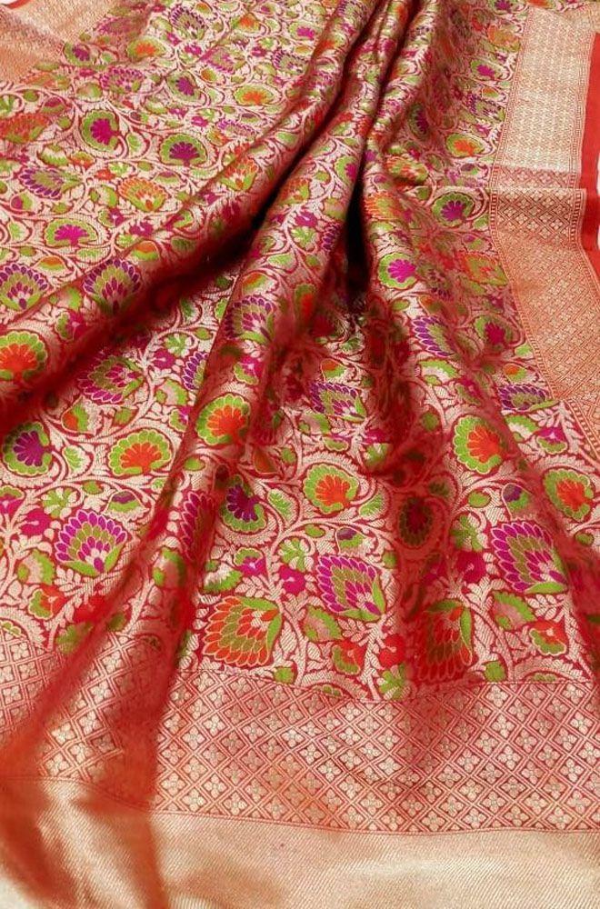 Banarasi silk saree with meenakari border  designer saree saree for women  indian saree  wedding saree  saree blouse  sari