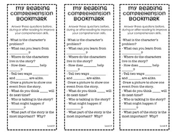 Guided Reading Comprehension Stem Bookmarks MCLASS reading questions stems