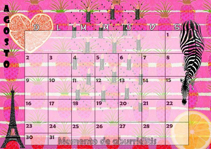 Calendario mensual 2015 - Agosto