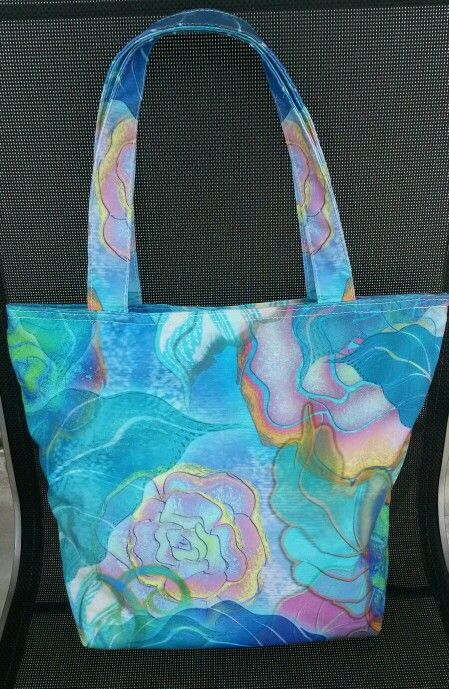 Blue flower canvas totebag.  See www.flirty-poodle.com for more details.