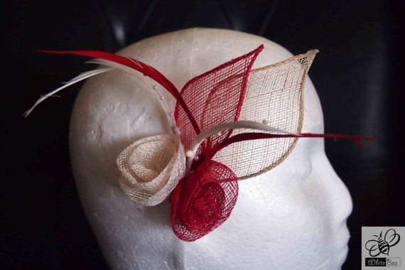 Red and white fascinator with feathers Tamara by WhiteBea on Etsy