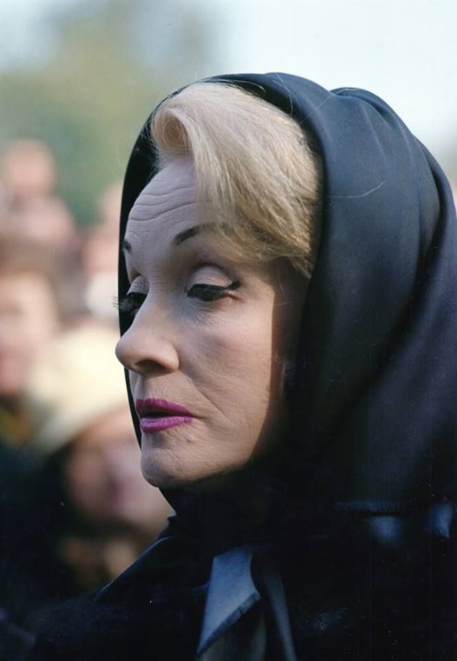 Marlene Dietrich at Edith Piaf's funeral. 1963.
