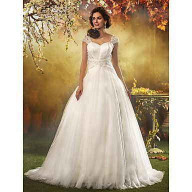 A-line Princess Queen Anne Sweep/Brush Train Tulle Wedding Dress – USD $ 299.99