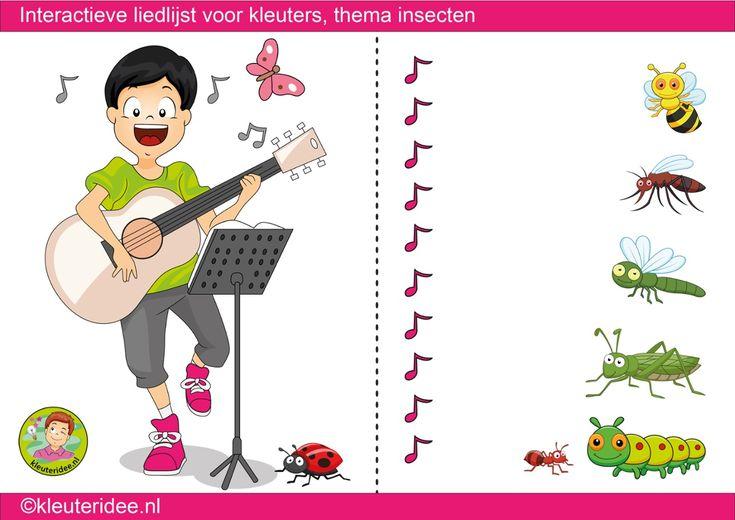Interactieve liedlijst, thema insecten en kriebelbeestjes, kleuteridee - ThingLink
