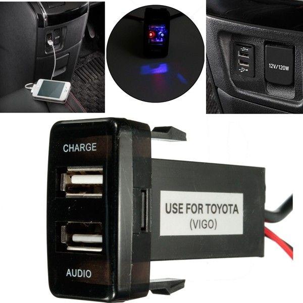 Dual USB Charger Audio Port for Toyota FJ Cruiser Highlander Tacoma 4Runner