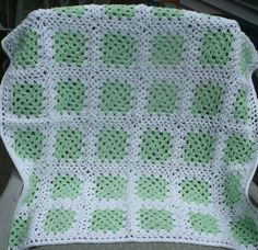 """Baby Blanket - """"Green on White Granny"""" This Granny Blanket was hand crocheted in Green and White. It measures 30 x 30 inches and is completely machine washable. Created in the USA. PH-1368 $60.00 + S/"""