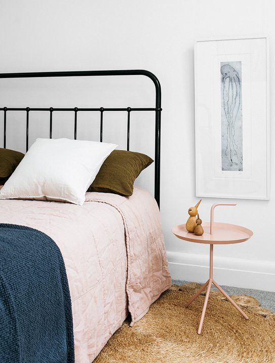 Willoughby House | Arent & Pyke // olive, blush, navy bedding color palette