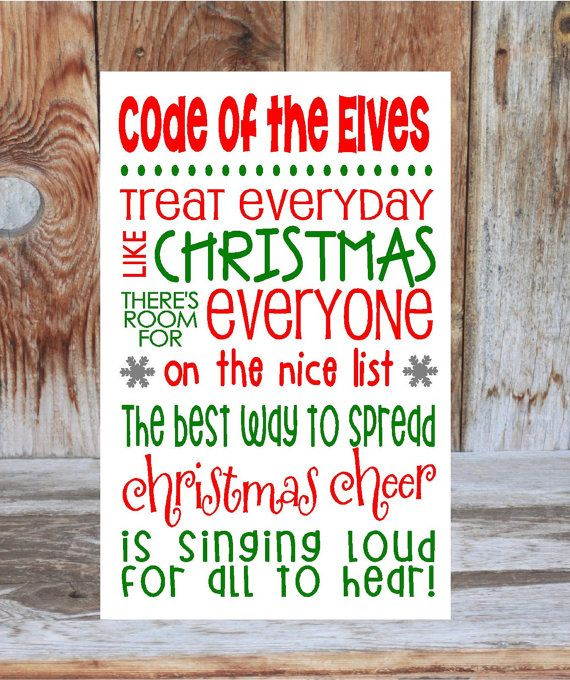 ELF inspired CHRISTMAS wood decoration sign board - rules subway art vinyl lettering, Elves Code on Etsy, $19.99