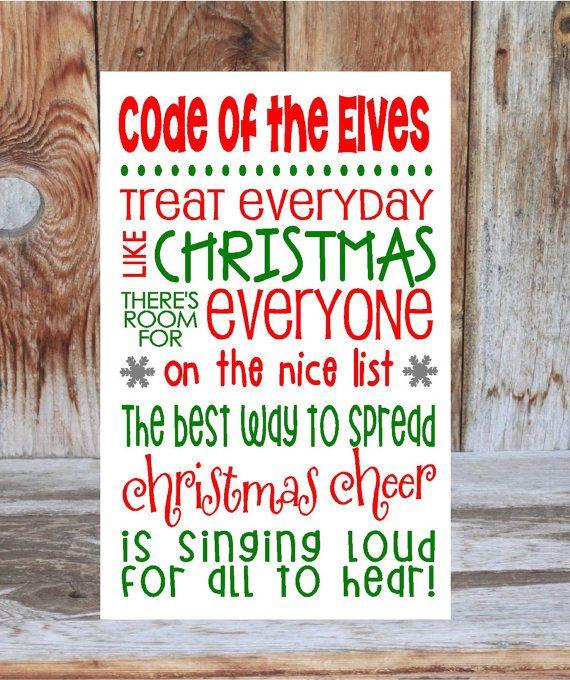 ELF inspired CHRISTMAS wood decoration sign board - rules subway art vinyl lettering, Elves Code on Etsy, $19.99