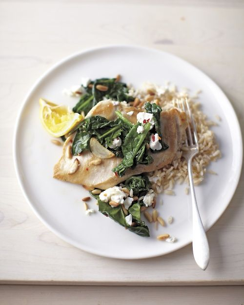 Sauteed Chicken with Spinach, Garlic, Goat Cheese and Pine Nuts