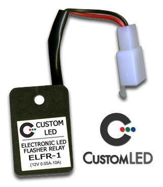 Our ELFR-1 LED Flasher Relay for Motorcycles is designed to blink at the normal blink rate, regardless of what blinker lamps you are using (LED or Incandescent), and is Plug-and-Play for most motorcycles!