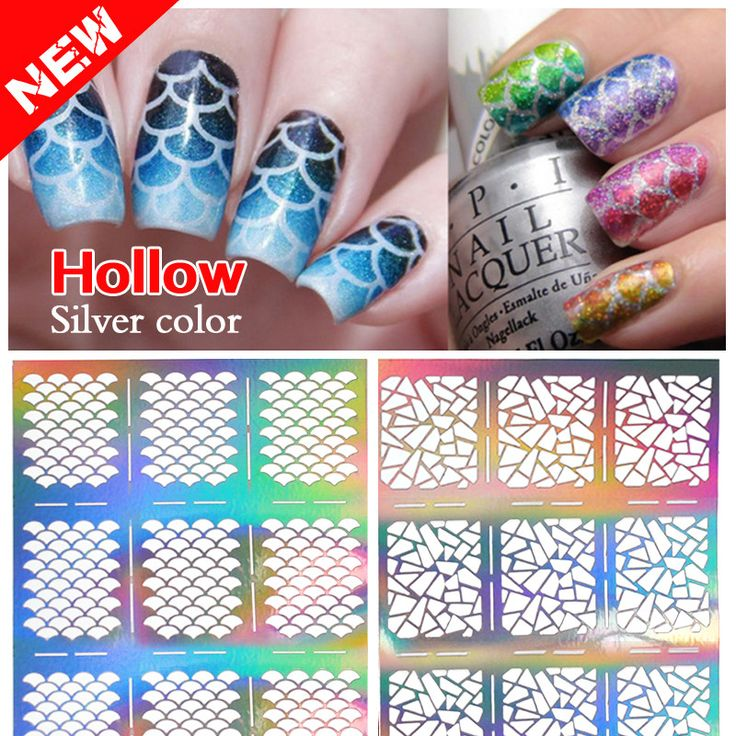 2016 New 1sheet Silver Hollow Stencil Nail Stickers Fish Scale Pattern DIY Nail Stamping Polish Guide Manicure Tools