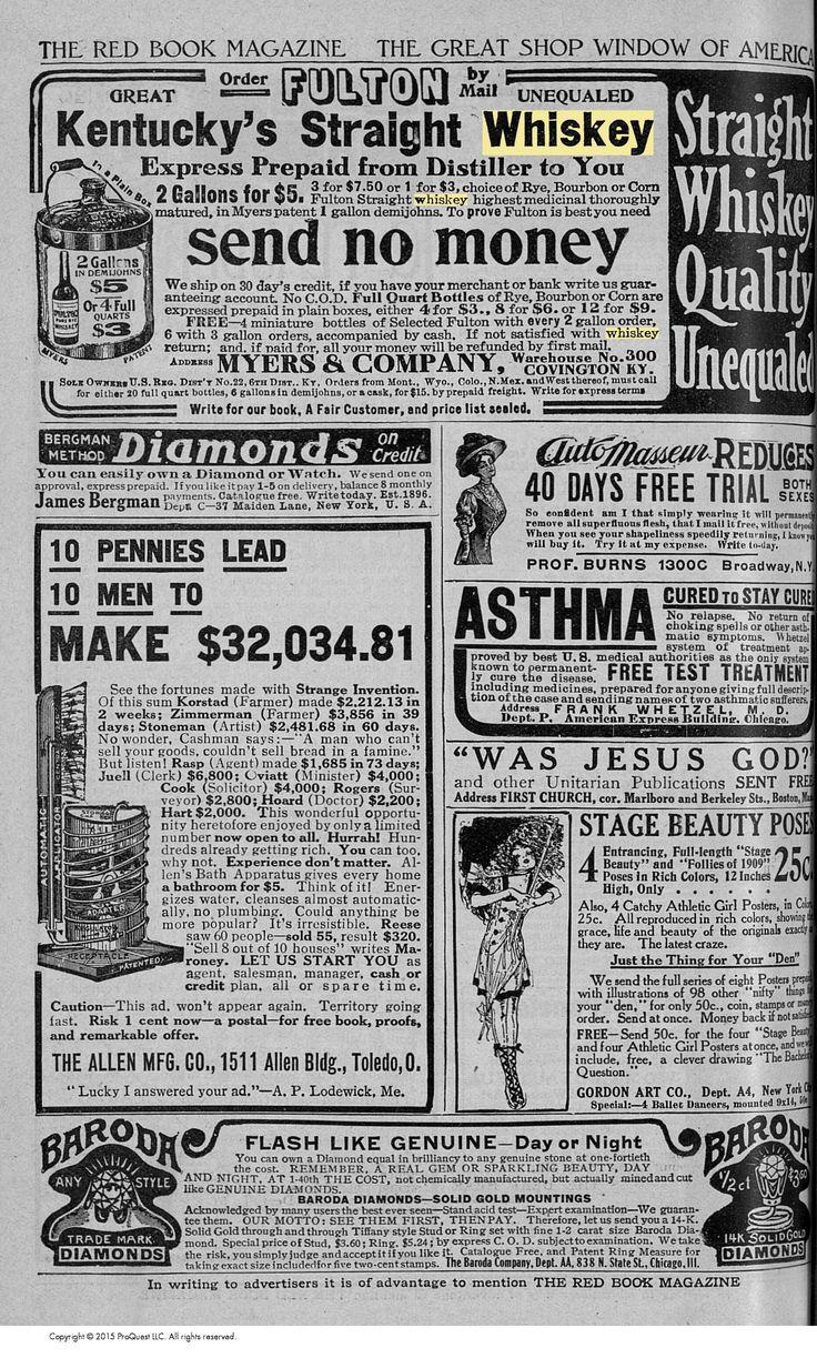 Myers Fulton Straight Whiskey - Kentucky.  November 1909 Redbook Magazine.  Whiskey ads aimed at women.