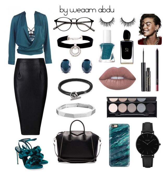 """Teal. Leather."" by weaam-abdu on Polyvore featuring For Love & Lemons, Givenchy, CLUSE, Marco de Vincenzo, Casetify, Kenneth Jay Lane, Joma, Gucci, Michael Kors and Witchery"
