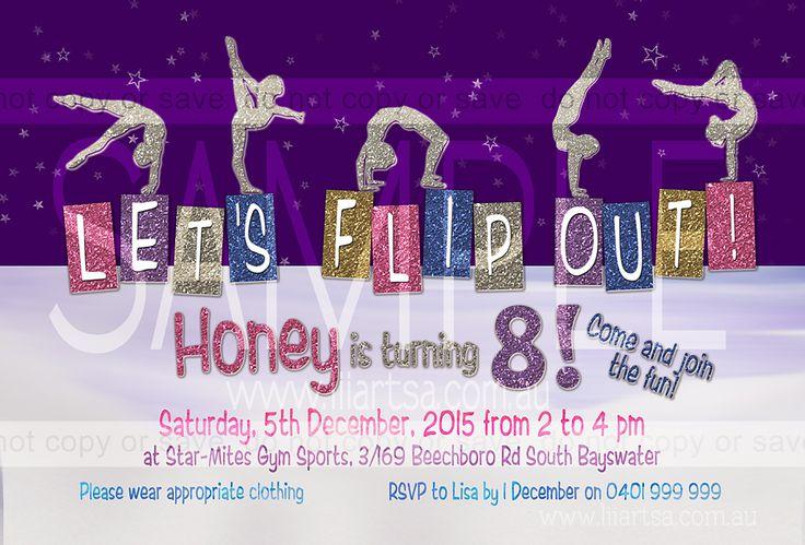 Gymnastics Glitter Childrens Birthday Invitations