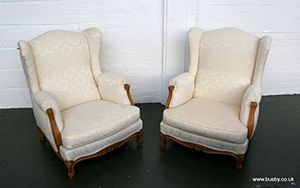 A pair of ivory brocade armchairs in the French style 37in(94cm)H