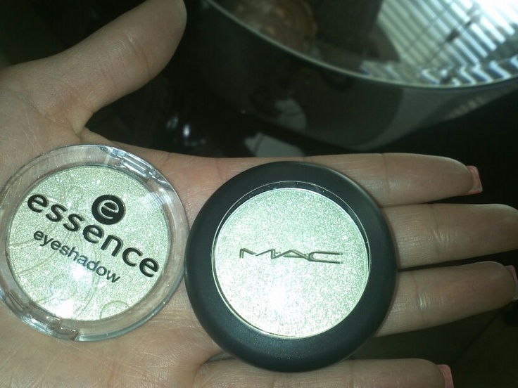 Found the dupe for mac pressed pigment-flicker its essence 02 dance all night eyeshadow they look very much alike on the skin as well