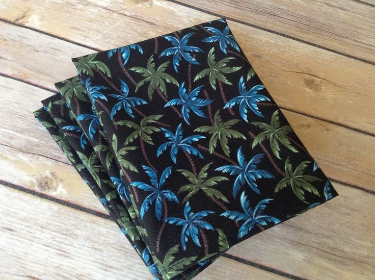 Hawaiian Palm Tree Cloth Napkins, Tropical Floral 12x12 Cotton Napkins, Set of 6. Brilliant, blue and green palm trees on a jet black background. A perfect companion to luncheons, coffee/tea or casual, summer dining. Napkins are 12x12, with 6 napkins to a package. Handcrafted, 100% cotton, prewashed for shrinkage.