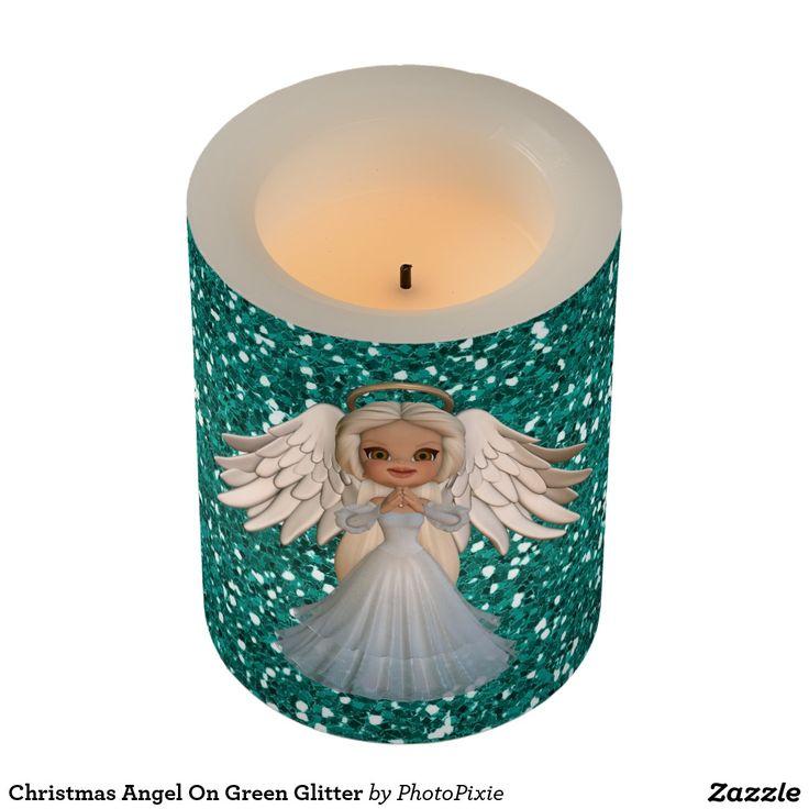 Christmas Angel On Faux Green Glitter