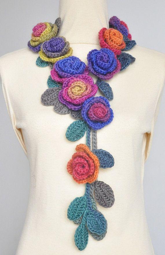 ROSA arancio e viola Crochet Multicolor Rose di jennysunny
