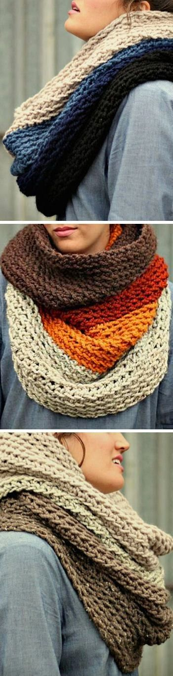 Omber Cowl Winter Scarves- need to find just a simple cowl pattern and get Jean (Grandma B) to make