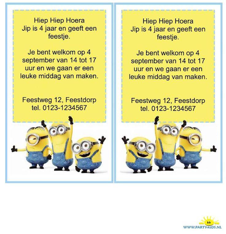 Minions uitnodiging. Werktekening (pfd) is direct te gebruiken en zelf te printen op Party-Kids.nl