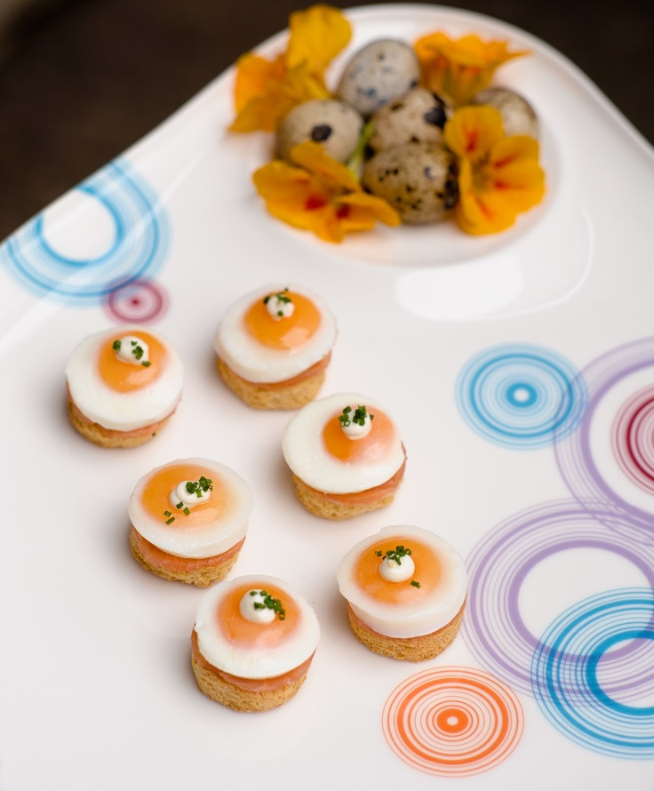 The 149 best images about canapes on pinterest mini beef for Quail egg canape
