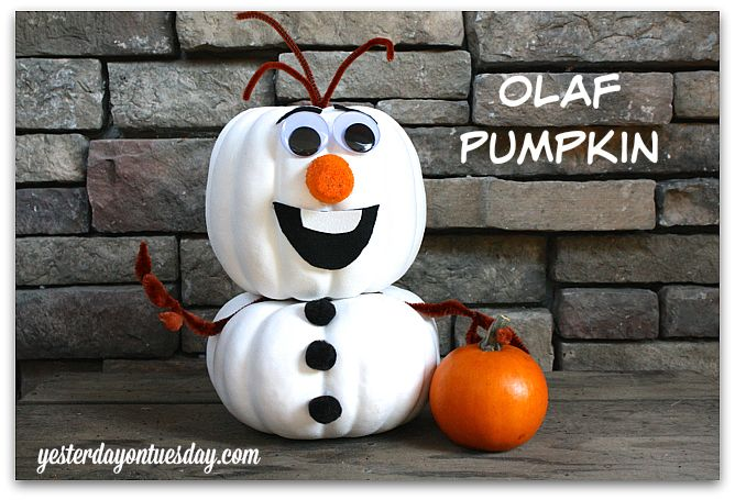 Frozen Craft for Halloween: Olaf Pumpkin friendly jack-o-lantern, no fire required. Kids will love it.