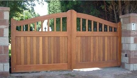 124 best images about front gate on pinterest entry for Wooden sliding driveway gates
