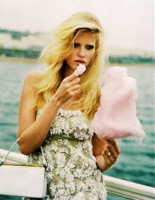 cotton candy pink, teal sea, Lara Stone for Vogue UK 2011