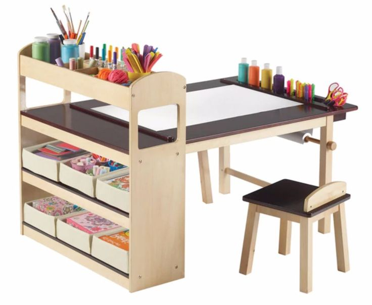 Art Desk For Kids With Storage Bins Activity Study School Chairs Starter Paper  #GuideDeluxe