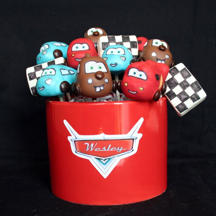 12 Disney Cars Cake Pops - McQueen, Mater, & Sally, with Checkered Race Flags - for birthdays, favors, gifts. $43.00, via Etsy.