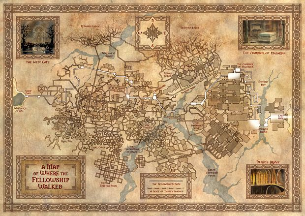 A Map of where the Fellowship walked. The Mines of Moria