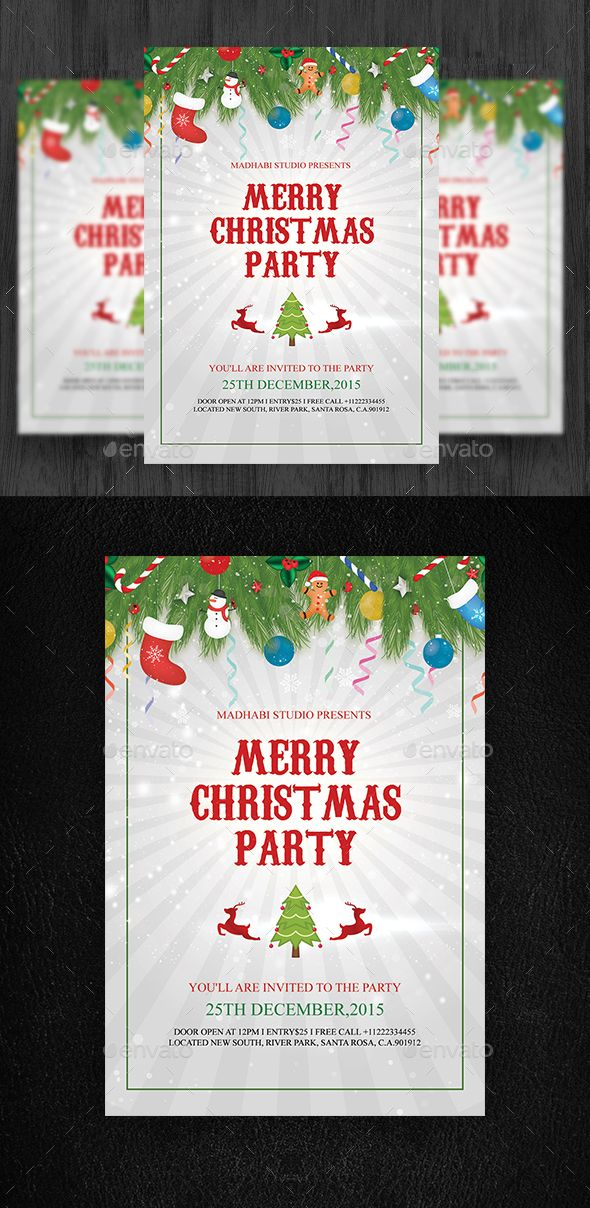 Merry Christmas Party #Flyer #Template - Clubs & Parties #Events #Christmas #NewYears #Seasons #Holidays #Winter #Graphics #Design
