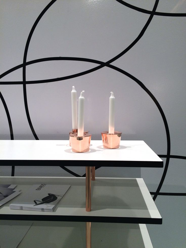 Candle jar and Candle case in copper.  Bruno Mathsson exhibition stand at the Stockholm Furniture Fair 2015.