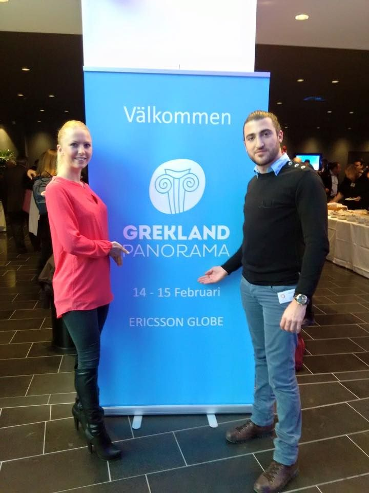 Dimitris, general manager & Eline, guest relations at Grekland Panorama 2015 in Stockholm