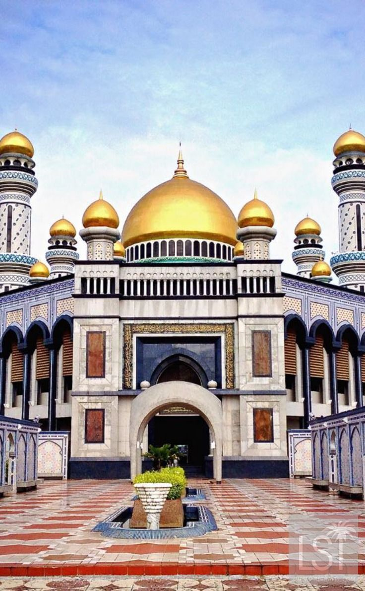 Jame Asr Hassanil Bolkiah mosque in Bandar Seri Begawan - a city you'll not have heard of often. It is the capital of one of the world's richest countries. The city is the capital of the Asian state of Brunei and is a fascinating mix of modern and traditional with palaces, mosques, and flamboyant hotels.