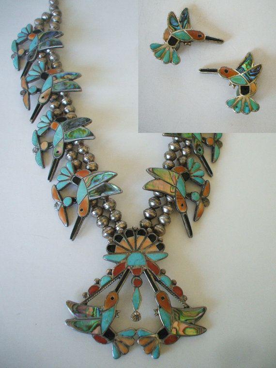 Rare Howard Esalio Hummingbird Squash Blossom Necklace