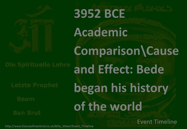 3952 BCE   Academic ComparisonCause and Effect: Bede began his history of the world  http://www.futureofmankind.co.uk/Billy_Meier/Event_Timeline  Ban-Srut Beam  - Last Prophet - Line of Nokodemion