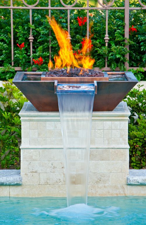 Can't decide if you want a mini fire pit or waterfall?! Take both ! California Art Moderne Style-17 Eclectic Pool Design Photos  #designs #pools