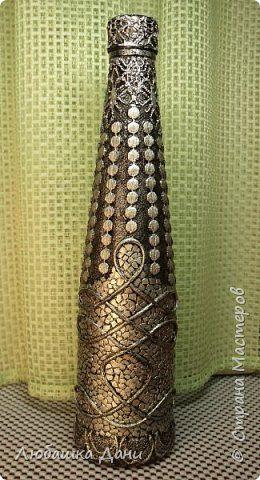 Декор предметов Аппликация Декор кружевом -3 Бутылки стеклянные Клей Краска Кружево Скорлупа яичная фото 11