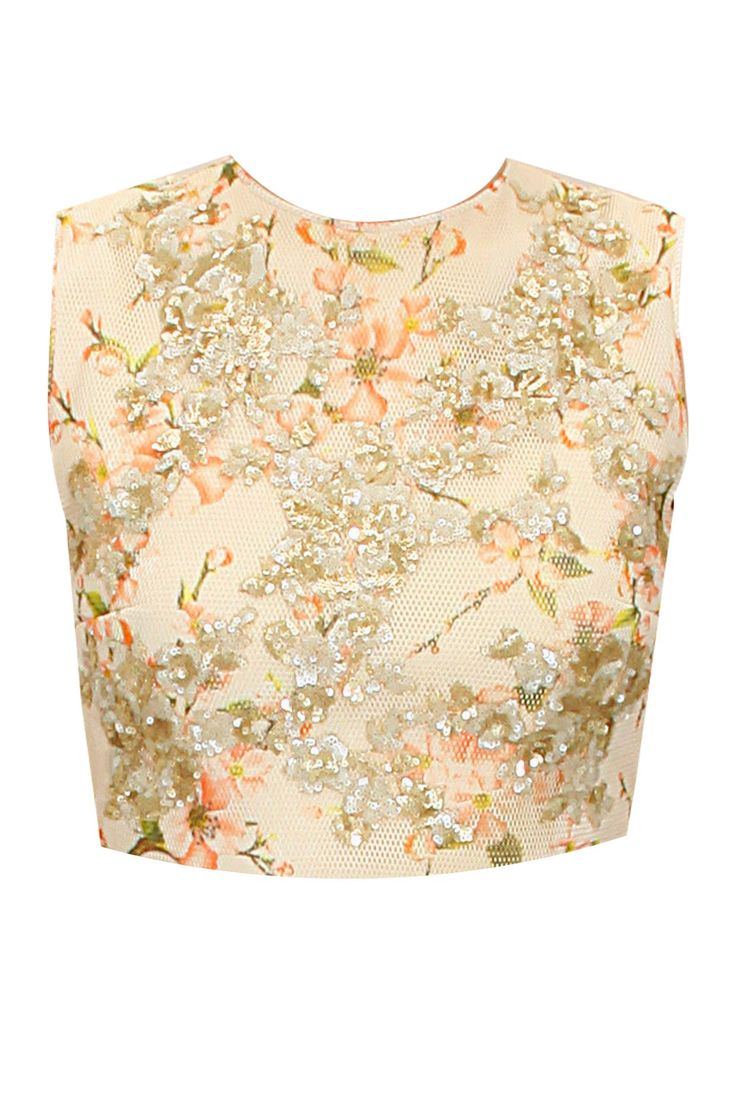 Cream sequins jaal embroidered mesh croptop available only at Pernia's Pop-Up Shop.