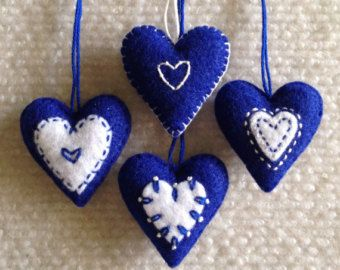 Christmas heart ornaments Blue and White felt hearts Set of four