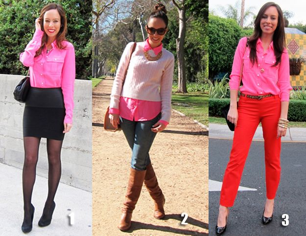 How To Wear A Neon Pink Blouse Three Different Ways J