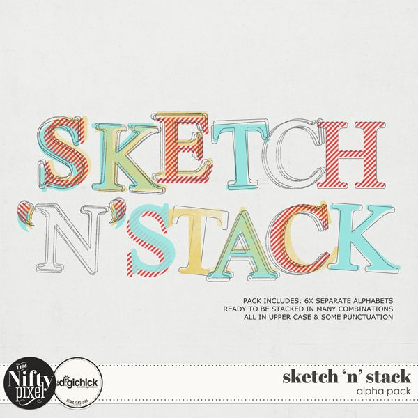 Oooh this is a 'nifty' alpha pack. It includes 6 versions of the same typeface: Grungy, Striped, Outline, Solid, Sketched and Stacked the completed alpha which has all 5 versions combined and coloured just as you see on the folder preview. Essentially you are getting 6 Alphas in this pack with many more combination options. Simply pick and choose which to combine and wollah you have a customised alpha perfectly tailored to suit your project at hand. DOWNLOAD INCLUDES: 6X Unique Alphabets…