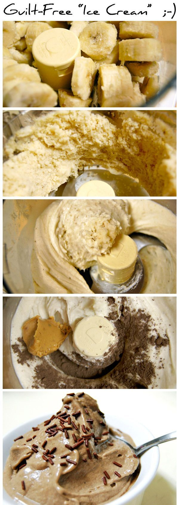 "Healthy ice cream: Guilt-Free ""Ice Cream""! No sugar. No dairy. This recipe really only requires: 3-4 bananas, sliced and frozen (slice before freezing) A spoonful of peanut butter 2-3 tsp. cocoa powder"