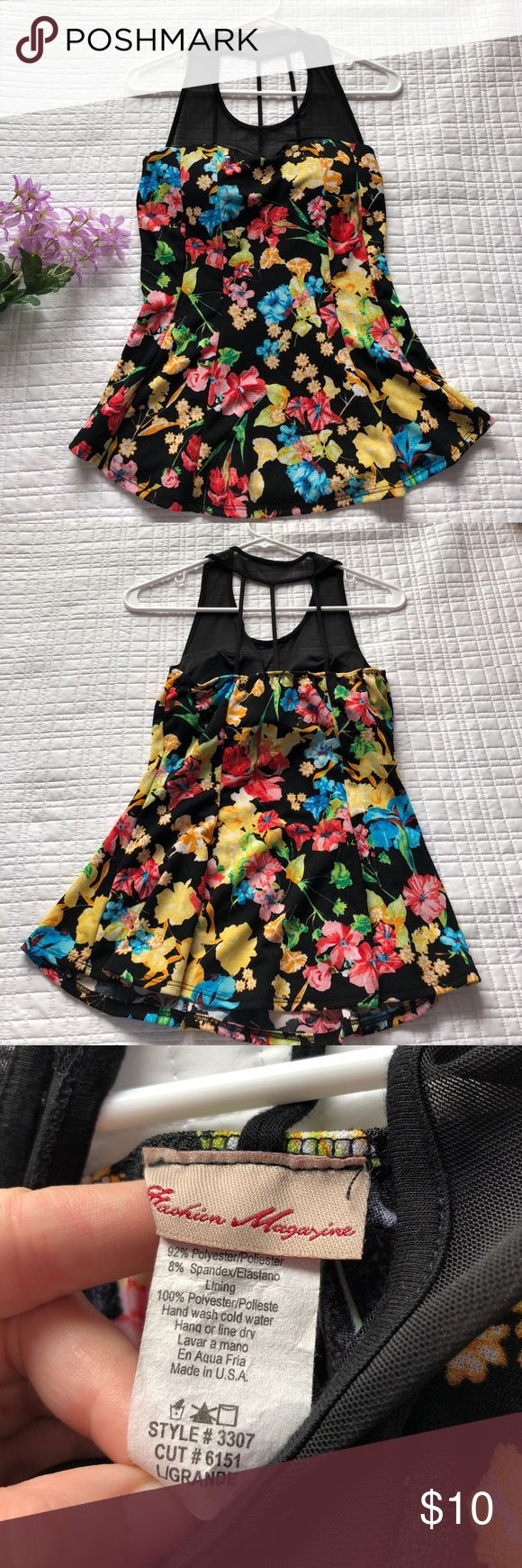Fashion magazine Colorful floral peplum top Bright peplum top with string detail in back, black mesh at the top Fashion Magazine Tops Blouses