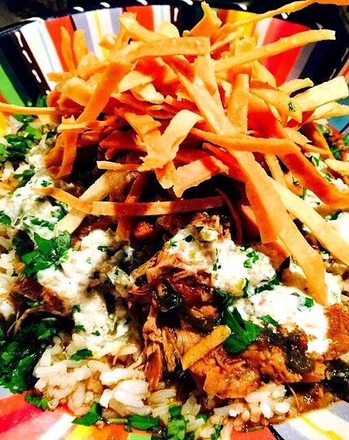 Lindsey's Luscious: A Cozy Bowl of Cross-Cultural Comfort - replication of Sammy's Diner (Park City, UT) recipe on Diners Drive-ins and Dives...pulled pork over jasmine rice topped with tomatillo aioli and crispy tortilla strips