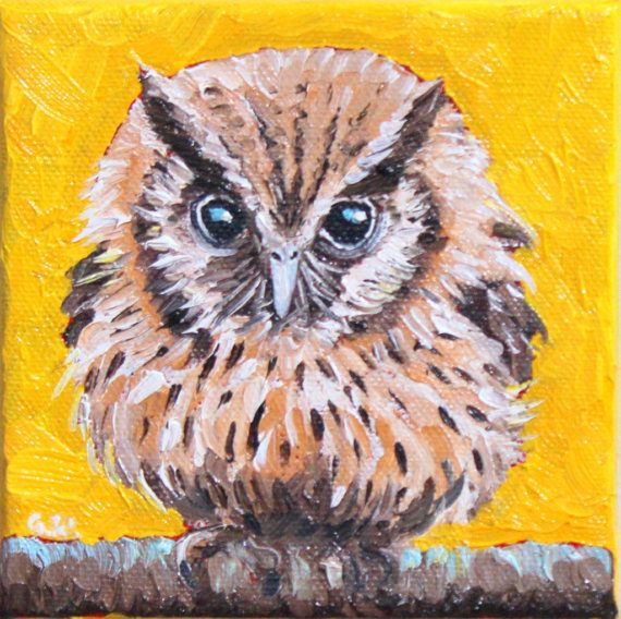 OWL OIL PAINTING miniature owl painting owl cute by GrazynaWolski
