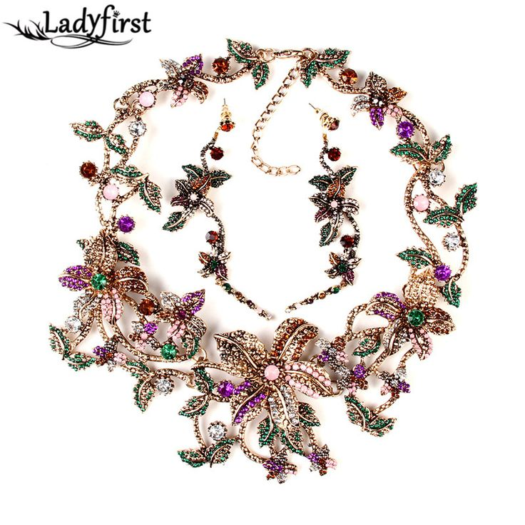 Metal za flower Pendants  Necklaces Vintage Crystal Collares Statement Necklace Gifts B431